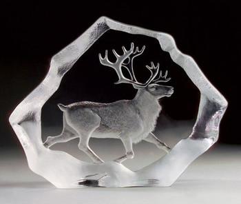 Reindeer Etched Crystal Sculpture by Mats Jonasson