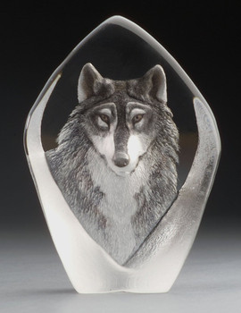 Alert Wolf Etched Crystal Sculpture by Mats Jonasson
