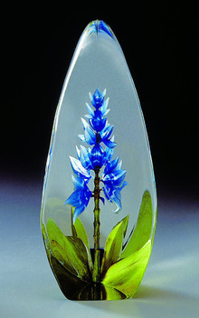 Orchid Blue Flower Etched Crystal Sculpture by Mats Jonasson