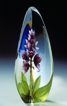 Orchid Red Flower Etched Crystal Sculpture by Mats Jonasson