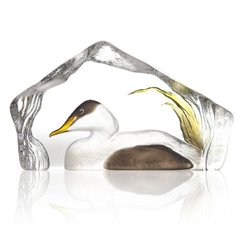 White and Black Eider Duck Painted Crystal Sculpture by Mats Jonasson