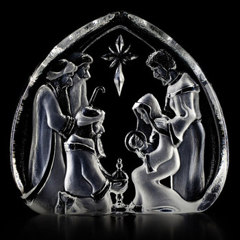 Holy Family Etched Crystal Sculpture by Mats Jonasson