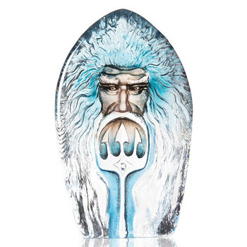 Poseidon Blue Etched Crystal Masq Sculpture by Mats Jonasson