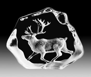 Running Reindeer Etched Crystal Sculpture by Mats Jonasson