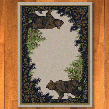 3' x 4' Twin Bears in the Forest Green Wildlife Rectangle Scatter Rug