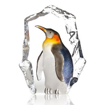 Black, White & Yellow Penguin Bird Crystal Sculpture by Mats Jonasson