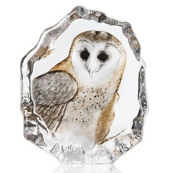 Barn Owl Bird Clear Etched Painted Crystal Sculpture by Mats Jonasson