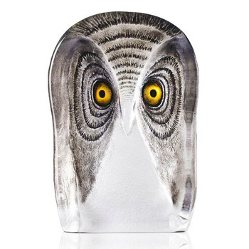 Large Owl Bird w/ Brown Color Etch Crystal Sculpture by Mats Jonasson