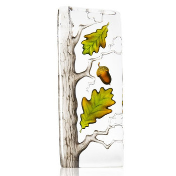 Large Green and Brown Oak Tree Painted Etched Crystal by Mats Jonasson