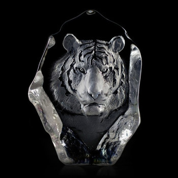 Tiger Face Etched Crystal Sculpture by Mats Jonasson