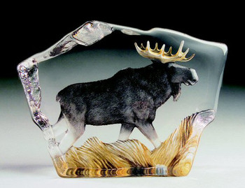 Moose With Color Etched Crystal Sculpture by Mats Jonasson