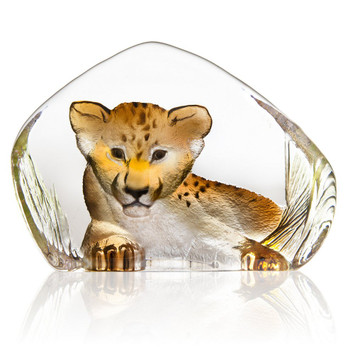 Brown Lion Cub Painted Etched Crystal Sculpture by Mats Jonasson