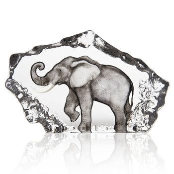 Grey Walking Elephant Painted Crystal Sculpture by Mats Jonasson