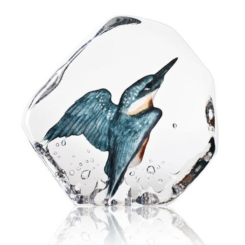 Kingfisher Bird Blue/Grey Color Etch Crystal Sculpture by M. Jonasson