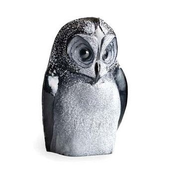 Black Owl Etched Crystal Sculpture by Mats Jonasson