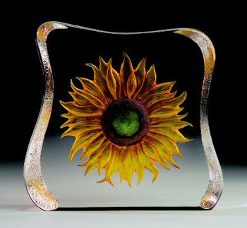Large Sunflower Etched Crystal Sculpture by Mats Jonasson