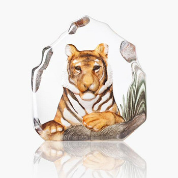 Relaxing Tiger Orange & Black Color Crystal Sculpture by Mats Jonasson