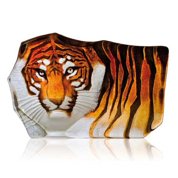 Small Tiger Orange Etched Crystal Sculpture by Mats Jonasson