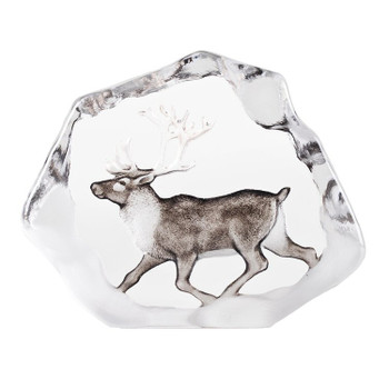 Reindeer with Color Etched Crystal Sculpture by Mats Jonasson