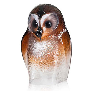 Brown Owl Bird Painted Etched Crystal Sculpture by Mats Jonasson