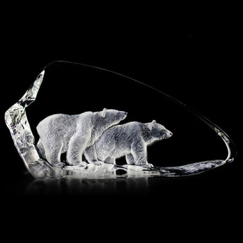 Two Polar Bears Walking Etched Crystal Sculpture by Mats Jonasson
