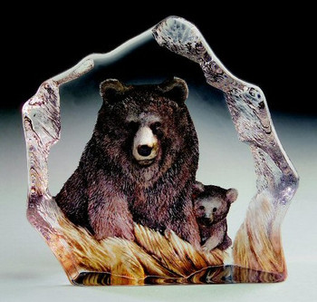 Brown Bear Etched Crystal Sculpture by Mats Jonasson