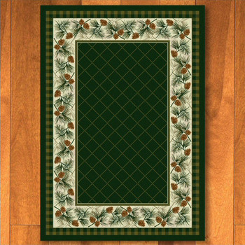 3' x 4' Evergreen Pine Pinecones Nature Rectangle Scatter Rug