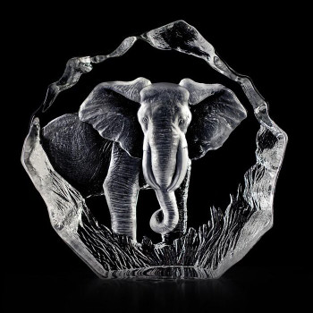 Single Elephant Etched Crystal Sculpture by Mats Jonasson