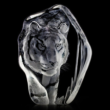 Tiger Etched Crystal Sculpture by Mats Jonasson