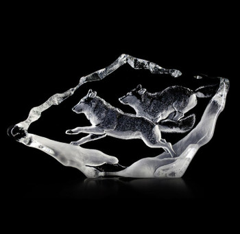 Wolf Mates Etched Crystal Sculpture by Mats Jonasson