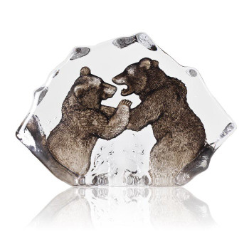 Fighting Grizzly Bears Brown Color Crystal Sculpture by Mats Jonasson