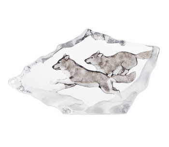 Running Wolves with Color Etched Crystal Sculpture by Mats Jonasson