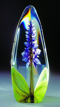 Large Orchid Purple Flower Etched Crystal Sculpture by Mats Jonasson