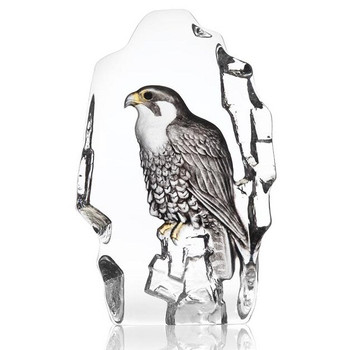 Falcon Bird Clear Etched Painted Crystal Sculpture by Mats Jonasson