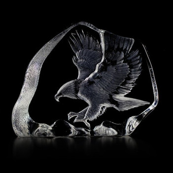 Eagle in Flight Etched Crystal Sculpture by Mats Jonasson