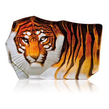 Large Tiger Orange Etched Crystal Sculpture by Mats Jonasson