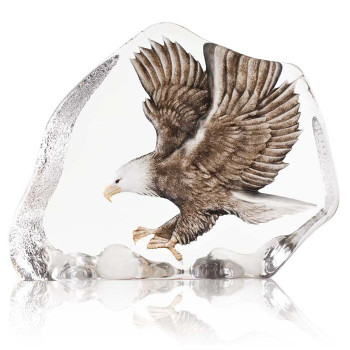 Flying Eagle w/ Brown Color Etched Crystal Sculpture by Mats Jonasson