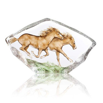 Large Running Horses w/ Brown Color Crystal Sculpture by Mats Jonasson