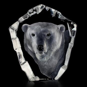 Polar Bear Head Etched Crystal Sculpture by Mats Jonasson