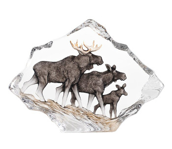 Moose Family with Color Etched Crystal Sculpture by Mats Jonasson