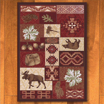 3' x 4' Bear Creek Lodge Red Wildlife Rectangle Scatter Rug