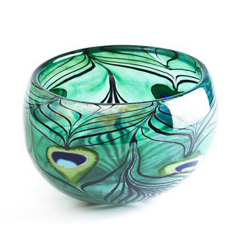 Limited Edition Green Peacock Bird Crystal Bowl by Mats Jonasson