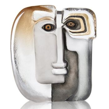 Ltd Ed Ideo Gold and Black Crystal Masq Sculpture by Mats Jonasson