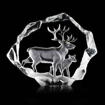 Ltd Ed. Reindeer and Calf Etched Crystal Sculpture by Mats Jonasson