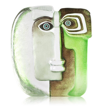 Ltd Ed. Green Ideo Masq Etched Crystal Sculpture by Mats Jonasson