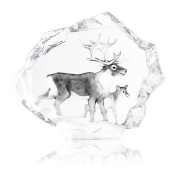 Ltd Ed. Reindeer with Calf Etched Crystal Sculpture by Mats Jonasson