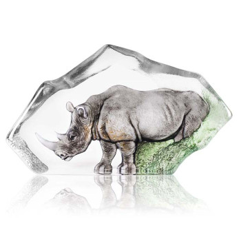 Ltd Ed. Rhino Grey Color Etched Crystal Sculpture by Mats Jonasson