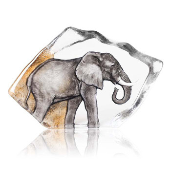 Ltd Ed. Elephant Grey Color Etched Crystal Sculpture by Mats Jonasson