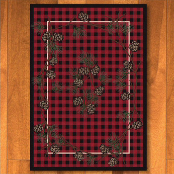 3' x 4' Wooded Pines Red Nature Rectangle Scatter Rug