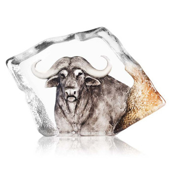 Ltd Ed. Buffalo Brown Color Etched Crystal Sculpture by Mats Jonasson